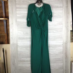 Mac Duggal Ruched V Neck Surplice Maxi Dress Gown